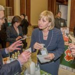 Assembly Speaker Vincent Prieto chats with Eileen Giordano of International Vitamin Corporation of Freehold. (Photo Courtesy of Bill Blanchard Photography, South River)