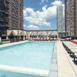 The pool at The One, a luxury residential tower which opened this year in Jersey City. The 36-story building, offering 450 apartments, was developed by a joint-venture partnership of BLDG Management Co., Inc., a fund managed by Ares Management, L.P., and Urban Development Partners.
